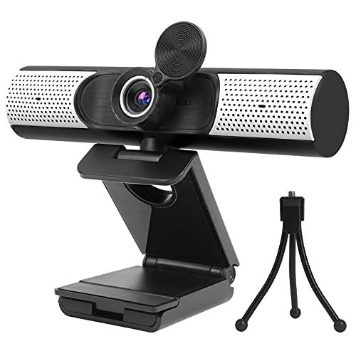 Webcam 1080P mit Mikrofon, Lautsprecher Abdeckung, FHD USB Webcam mit Stativ, Plug and Play für Videoanrufe, Unterrichten, Streaming und Gaming
