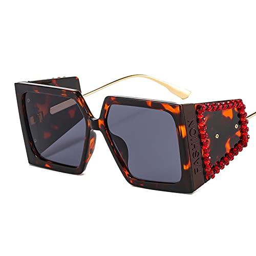 AMFG Gafas De Sol Con Marco Cuadrado Retro Hombres Y Mujeres Fotografía Callejera Gafas De Sol Tachonadas De Diamante (Color : A, Size : M)