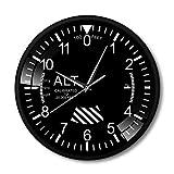 YYM Altímetro clásico controlado por Radio Reloj Redondo Altímetro Moderno Estilo de Instrumento Reloj de Pared de Metal Piloto Avión de Aire Medición de altitud Decoración del hogar