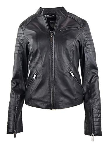 RICANO 7621 Damen Lederjacke (Slim Fit) im Bikerstil aus echtem Lamm Nappa Leder in Schwarz oder Military Grün (Schwarz, S)