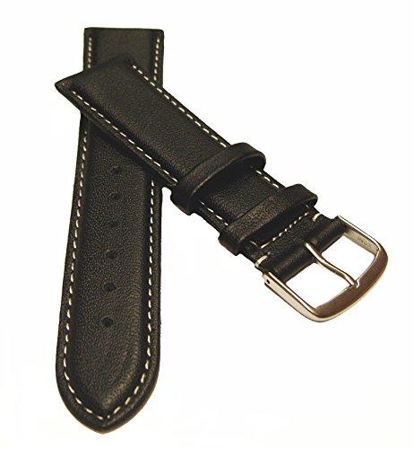 20 mm Uhrenarmband XL Überlänge Kalbsleder mit weißer Naht schwarz, Uhrenband Uhren Leder Armband