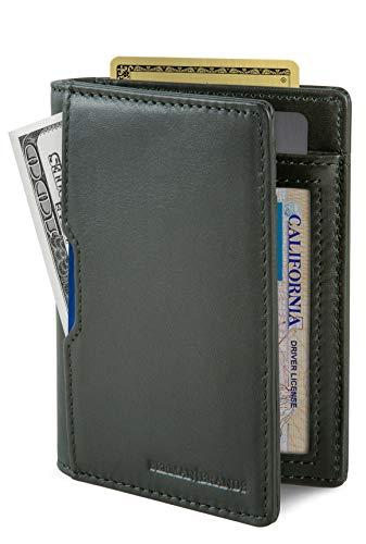 SERMAN BRANDS - Wallets for Men Slim Mens leather RFID Blocking Minimalist Card Front Pocket Bifold Travel Thin (Army Green 5.0)
