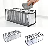 Underwear Drawer Organizer,7/11 Cell Foldable Closet Clothes Dividers Nylon Dresser Compartments Organizers Storage Boxes for Underwear,Panties,Socks,Stockings,Scarves,Ties & Bras (7 Cell-Black)
