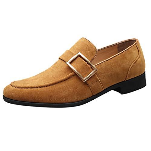 Herren Loafers Business Schuhe Wildleder Freizeitschuhe Erbsen Monkstrap Schuhe Bootsschuhe Anzug Schuhe Walking Driver Schuhe, Gelb, 45 EU