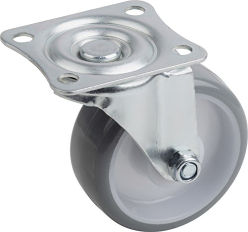 Metafranc zwenkwiel Ø 75 mm - 70 x 59 mm plaat - polyurethaan wiel - zacht loopvlak - rollagers - 75 kg draagkracht/transportwiel/meubelrol/zware lastrol / 802920