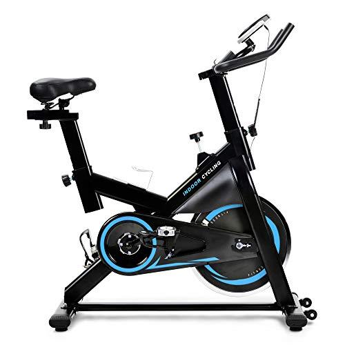 Bicicleta de velocidad con pantalla LCD y soporte para smartphone, ergómetro con accionamiento por correa, bicicleta interior, ajuste de resistencia continuo.