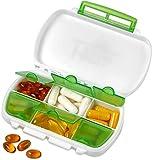 Caja de pastillas - Portapíldoras para medicina a prueba de agua. Portatabletas para uso diario libre de BPA. Dispensador y almacenador para medicinas, suplementos y vitaminas, ideal para viajes y uso