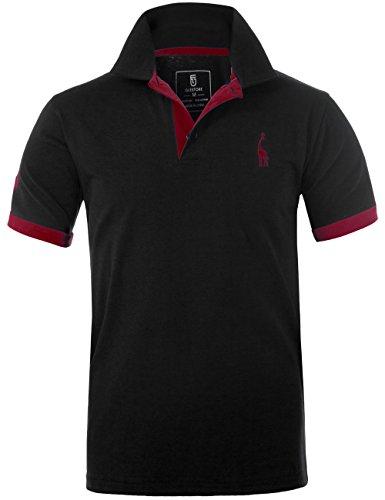 GLESTORE Herren Poloshirt Einfarbig Basic Kurzarm Polohemd T1-Schwarz L