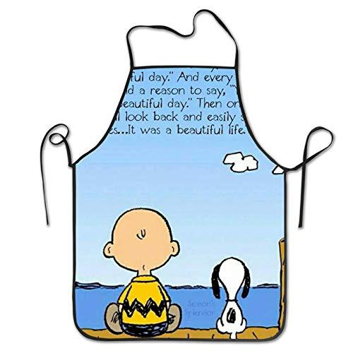 AOOEDM Charlie Brown Quotes Cooking Hornear BBQ Delantales Unisex Babero de Cocina para cocinar jardinería, tamaño Adulto