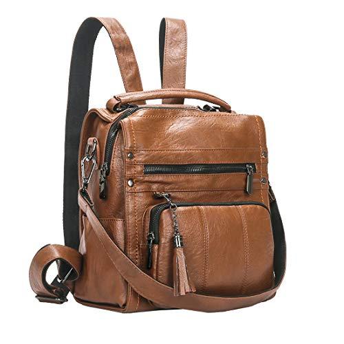 Mynos Women Backpack PU Leather Mini Purse Leather Handbag Ladies Rucksack Travel Tote Shoulder Bag (A-Brown)