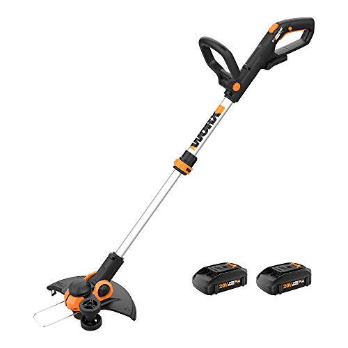 Worx WG163.10 GT 3.0 20V PowerShare 12' Cordless String Trimmer & Edger, 12in, 2 Batteries and Quick Charger Included, Black and Orange
