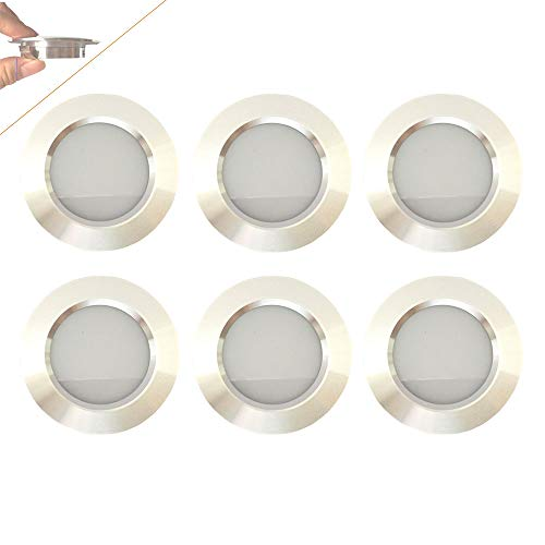 12v-LEDlight Screw Free Lightweight Silver Ceiling Lamps - Interior Recessed Light Fixtures Replacement - LED Ceiling Light Aluminum, 3w, Soft Warm White, Pack of 6 with Bonus