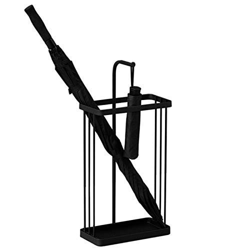 Paragüero Almacenamiento de Soporte Pequeño de Metal para Sombrillas y Bastones, Estantes de Paraguas de La Puerta Delantera de La Entrada del Pasillo con La Bandeja del Goteo, 32 X 12 X 66 Cm, Negro