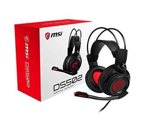 MSI DS502 Gaming Headset mit Vibrationssystem (kabelgebunden, 40 mm Neodym Driver, 20 Hz - 20 Khz, USB 2.0, schwarz, 405 Gramm, kein RGB)