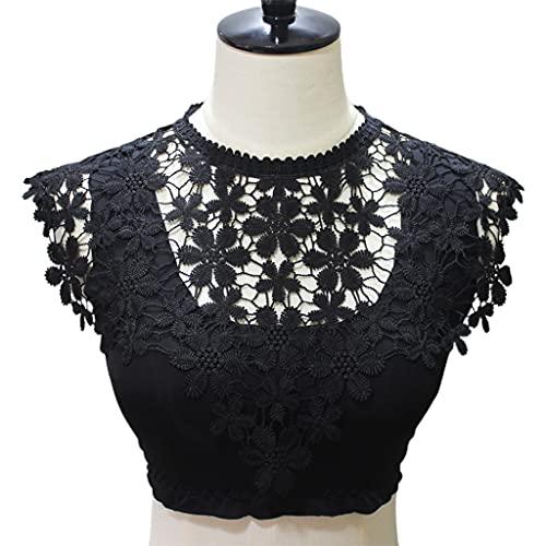 MYhose Mantón de Las Mujeres Bordado Floral de Encaje Escote Vestido de Cuello Falso mantón Apliques Bufanda encogiéndose de Hombros Negro