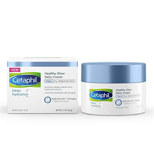 CETAPHIL Deep Hydration Healthy Glow Daily Face Cream | 1.7 oz | 48 Hour Dry Skin Face Moisturizer for Sensitive Skin | With Hyaluronic Acid, Vitamin E & Vitamin B5 | Dermatologist Recommended