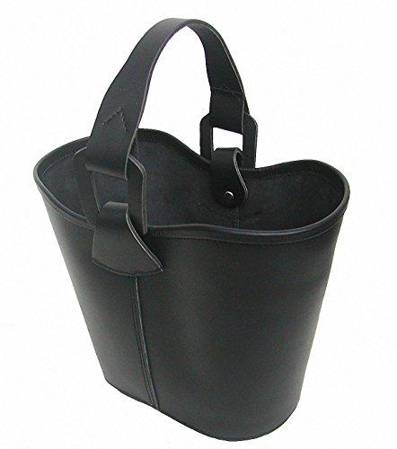 Ensuite Leder Einkaufskorb schwarz, Blankleder pflanzlich gegerbt, Leder Papierkorb, Leder Zeitungskorb, ca. 27 cm hoch, 38 cm breit