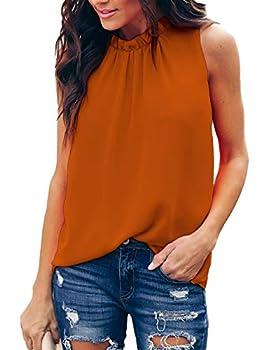Allimy Women Summer Casual Shirts Ruffle Trim Cute Chiffon Sleeveless Tank Tops And Blouses Orange Medium