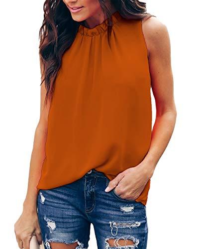 Allimy Women Summer Casual Shirts Ruffle Trim Cute Chiffon Sleeveless Tank Tops and Blouses Grey Small
