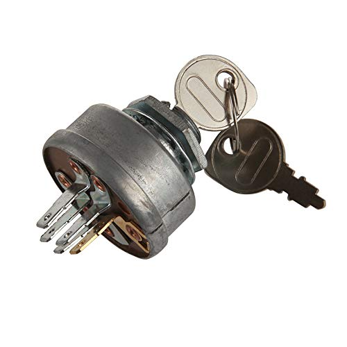 HMY STD365402 Craftsman Riding Lawn Tractor Mower Ignition Starter Switch with 3 Position 5 Termials 2 Keys Suit for Toro,Grasshopper,Snapper,Scag,Sears Mower 24688 725-0267 925-0267 21064 42106