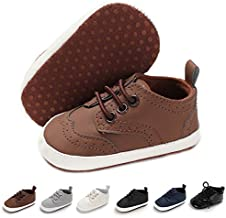 BENHERO Baby Boys Girls Oxford Shoes Soft Sole PU Leather Moccasins Infant Toddler First Walkers Crib Dress Shoes Sneaker (6-12 Months Infant),F-Brown