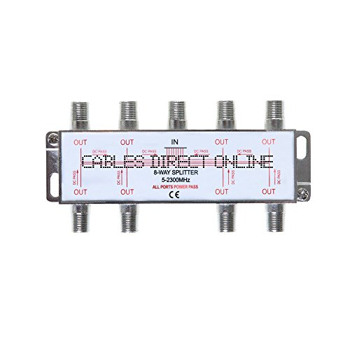 8 Way 5-2300 MHz Coaxial Antenna Splitter for RG6 RG59 Coax Cable Satellite HDTV (8 Ports)