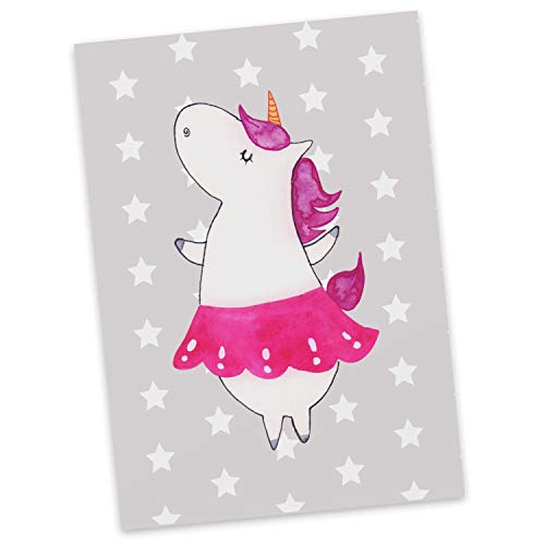 Mr. & Mrs. Panda cadeaubon, kaart, Ansichtkaart Eenhoorn Ballerina - Kleur Grijze Pastel