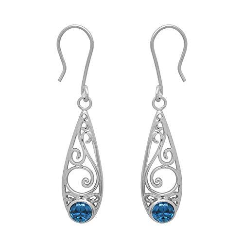 Ronda de opción múltiple Forma de piedras preciosas de plata de ley 925 Diseño de filigrana plateada colgante Pendiente de gota (Topacio azul suizo)