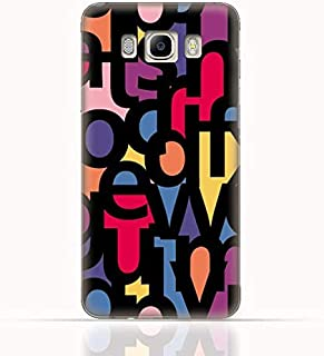 Samsung Galaxy J7 2016 TPU Silicone Case with Abstract Font Seamless Pattern