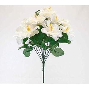 Artificial Silk Flowers Cream Hibiscus Bush 12 20″ Bouquet Get 1 Bush MG019