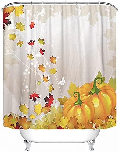Orange Kürbis Gemüse Duschvorhang Herbstblätter Badezimmer Vorhang Badewanne Dekor Badvorhang 72