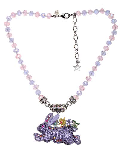 Kirks Folly Run Away Bunny Magnetic Interchangeable Necklace silvertone/lavender