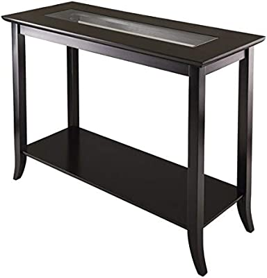 Wood And Glass Console Table With 1 Shelf   Rectangular Console Table With  Tempered Glass Top