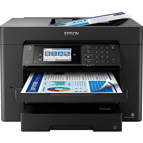 Epson WorkForce WF-7840DTWF 4-in-1 Business Tintenstrahl-Multifunktionsgerät (Drucker Scanner, Kopierer, Fax, WiFi, Ethernet, NFC, Full Duplex, Einzelpatronen, bis DIN A3+) schwarz