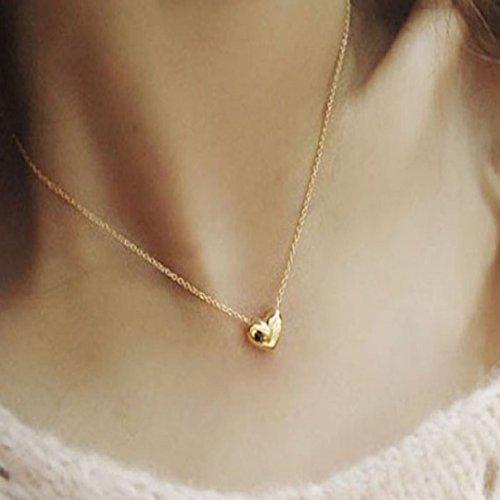 LCLrute - Collar con colgante de corazón, para mujer, color dorado