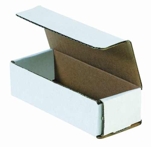 Aviditi White Corrugated Cardboard Mailing Boxes, 10 x 4 x 4 Inches, Pack of 50, Crush-Proof, for Shipping, Mailing and Storing
