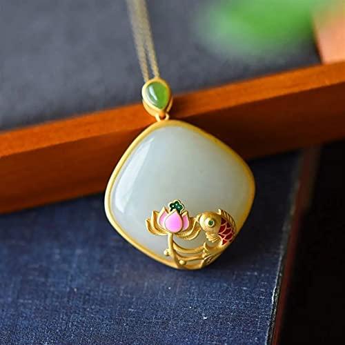 YZDKJ Natural Blanco Jade Koi Colgante Collar Estilo Chino Retro Lotus Geométrico Elegante Joyería de Mujeres Creativas (Gem Color : Necklace 45 cm)
