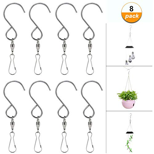 HOPESOOKY Wind Spinners,8-Pack Swivel Hooks Rotating Clips for Hanging Wind Chimes Plants Basket Birdcage Party Ornaments(Stainless Steel)