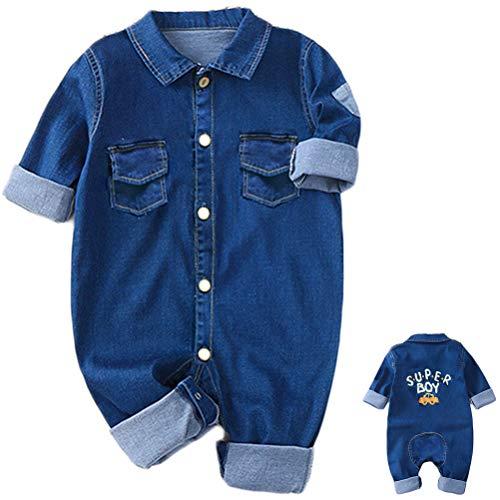 Odziezet Salopette Jeans a Manica Corta da Neonato Bimbo Jumpsuit Pantaloni Tute Outfit Estive, 0-12 Mesi