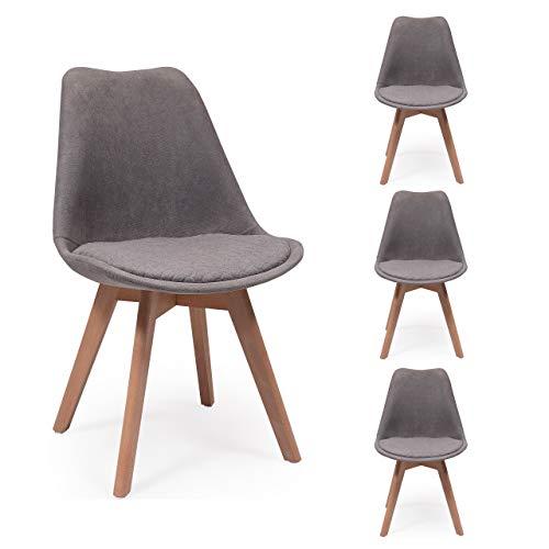 Pack de 4 sillas de Comedor New Day Tela con Asiento pespunteado diseño hexágono (Gris Claro)