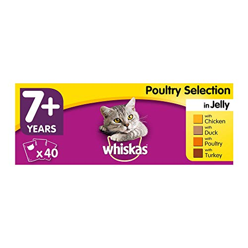 Whiskas 7+ Wet Food for Senior Cats, Poultry in Jelly, 40x100g