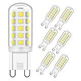 OHLGT Bombilla LED G9 de 3W Equivalente a 33W Lampara Halógena, Blanco Frío(6000k), 350LM, Regulable, Sin parpadeo, Sin Estroboscópico, 360 Grados, lámpara g9 para iluminación del hogar, paquete de 6
