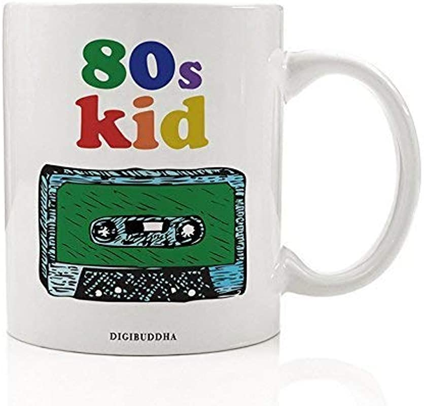 Funny 80 S Kid Coffee Mug Born In The 80s Millennial Rainbow Nostalgic 1980 S Vintage Cassette Tape I Love The Eighties Retro Man Woman Birthday Christmas Present 11oz Ceramic Cup Digibuddha DM0332