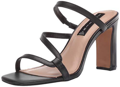 STEVEN by Steve Madden Women's Jerri Heeled Sandal, Black Leather, 10 M US