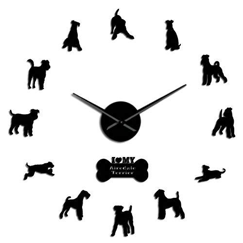 ZHEBEI Airedale Terrier Hunderasse Figur Zeitgenössische DIY Wanduhr Tier Hunde Haustiere Begleiter, Laser Cut leise Sweep Uhr