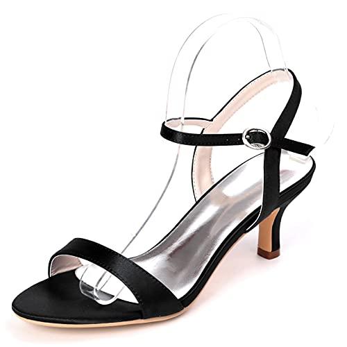 Zapatos De Boda con Punta Abierta Tacones Altos Cómodos De Satén para...