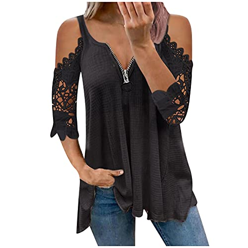 SHOPESSA Women's Off The Shoulder Tops Plus Size Zip Up Hollow Lace T Shirts 3/4 Sleeve Blouses for Women Fashion