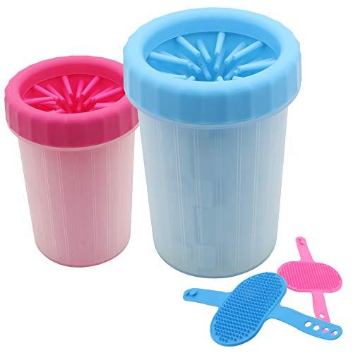Hundepfoten Reiniger Pfotenreiniger – einfachste Art Pfoten sauber zu machen, inkl. Pflegebürste, für Hunde und Katzen, Hundezubehör zum Waschen, Pfötchenreiniger (Blau)