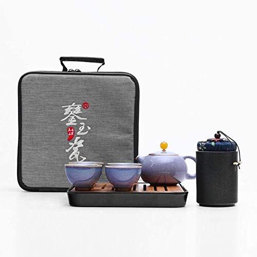 XYSQWZ Juego De Tazas De Té Juego De Tazas De Café Tetera De Cerámica para Viaje Mini Tetera China De Kung Fu 1 Tetera 4 Tazas Tetera De Porcelana con Bolsa Portátil Juego De Taza Y Platillo (Color: