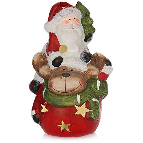 com-four® Reno con Papá Noel de cerámica - Figura Decorativa navideña para Dejar con iluminación LED - Figura Decorativa para Navidad (01 Pieza - Santa y Reno)